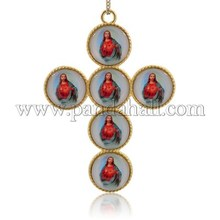 Oro cristal de la aleación de jesús retrato colgantes grandes, Neckalce cruzado de los encantos, rojo, 96 x 68 x 6.5 mm, agujero : 4 mm