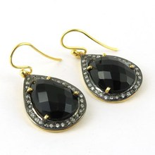 Brings Success In More Areas Of Life Black Onyx_White CZ 925 Sterling Silver Earring, Silver Jewelry India, Silver Jewelry