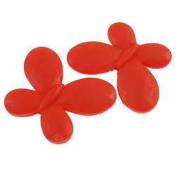 Clearance Acrylic Beads fly frosted red 46x35x6.50mm Hole:Appr 2.5mm 82PCs/Bag Sold By Bag