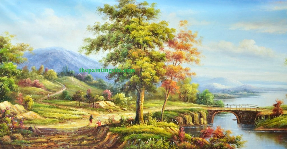 Tree landscape oil painting on canvas china buy for Oil painting scenery
