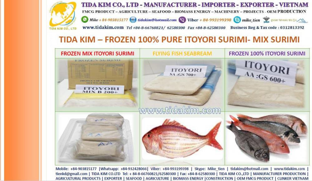 Itoyori Surimi Mixed Kintokidai Tida Kim Fresh Frozen Lobster Shrimp Fish Whole Baby Octopus Surimi Vietnam Manufacturer Alive