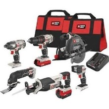 20 V Max Porter Cable Combo Kit Tools Garage Power Drill Driver Led Battery