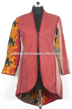 RTHCJC-22 Light Color reversible cotton kantha Winter Jackets For Girls Vintage look Full sleeves size Jaipur