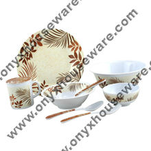 Palm Spring Dinnerware Set - High Quality, 100% Food Grade ONYX Melamine Dinnerware/ Tableware/ Dishes (Plates/ Bowls/ Cups)