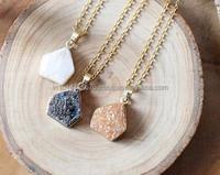 Pendant CoatedDruzy Agate Quartz Druzy Stone pendant necklace High Quality Gold Plated
