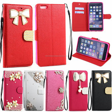 Crystal Flip Leather ID Wallet Case Cover with Strap For iPh 6 4.7 (Ribbon Tie)