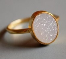 Buy Wholesale 14x10 mm Oval Opal White Drusy Rings only for ladies direct from manufacturing