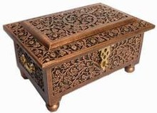 antique hand carved wooden jewelry box