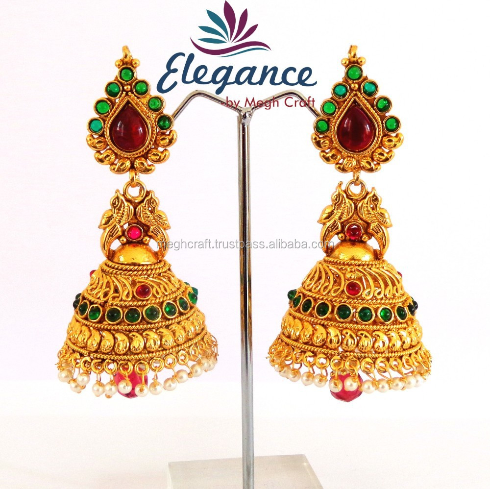 Creative Wholesale Indian Ethnic Earring  One Gram Gold Jewelry South Indian