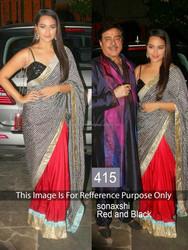Sonakshi Sinha In Red and Black Chiffon Designer Saree