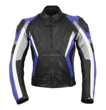 Motorbike Leather Jacket new design black, blue, & Grey