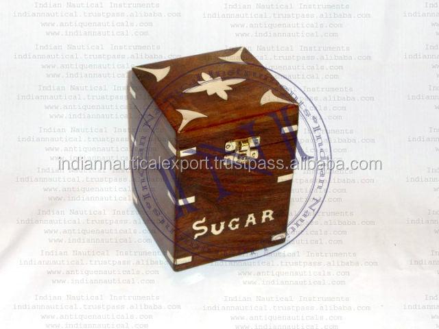 Wooden Tea Box With Brass Design, Tea Storage Wood Box, Decorative Large Tea Box