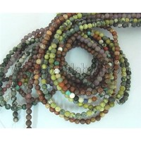 Round Gemstone Beads Mix, Assorted Colors, about 4mm in diameter, hole: 0.8mm; about 95pcs/strand, 16""