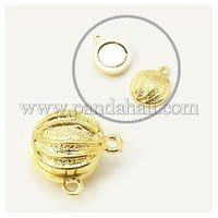 Alloy Magnetic Clasps, Flat Round, Basketball, Golden, 19x16x10mm, Hole: 2mm PALLOY-E215-1G