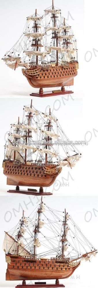 背の高い手作り木製模型船hms勝利小型- ギフトや家の装飾