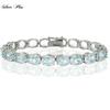 925 Sterling Silver Prong Set Oval Blue Topaz Bracelet