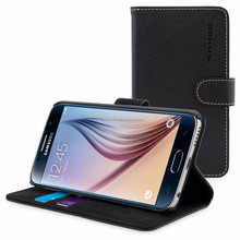 Snugg case for Galaxy S6 - Leather Flip Case with Lifetime Guarantee (Black) for Galaxy S6