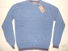 Men's Solid with Red Lining Bottom and Sleeve Sweater