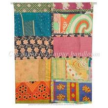 Vintage Kantha Quilt Indian Sari Throw Blanket Kantha Reversible Gudari Ralli Bedspread