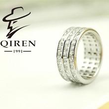 factory selling 925 sterling silver jewelry full zircon 3 circles beautiful full zircon women ring elegant lady gift