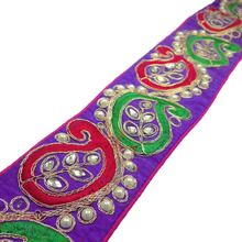 Beaded Fabric Trim Floral Craft Ribbon 7.6 Cm Wide Sari Border FT671A