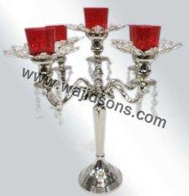 Silver finish aluminum 3 arm candelabra and 5 arm candelabra