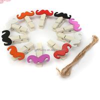 Brand New Cute Super Quality 10pcs Mini Moustache Wooden Clothes Peg Pin Clothespin Photo Paper Craft Clip