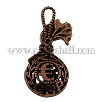 Tibetan Style Pendants, Lead Free & Nickel Free, Purse, Red Copper, 35x15x9mm, Hole: 4mm