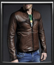 men's leather jackets with new style 2016, brown sheepskin leather jacket