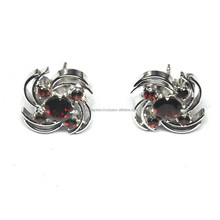 Garnet, Garnet 925 Sterling Silver Beautiful Design Fancy Earring Natural Earring SE863