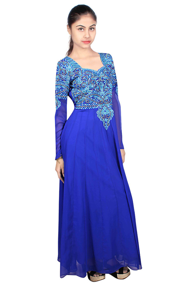 Blue Long Party Wear Long Anarkali Dress - Buy Blue Long Party Wear