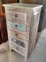 Reclaimed wood carving 5 Drawers Chest