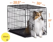 Pet folding Crates Puppy Dog Cat metal foldable cages 30 inch with handle