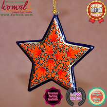Red Floral Hand Painted Wooden Cutout Star 2015 christmas decoration christmas ornament Stars of many color - christmas craft