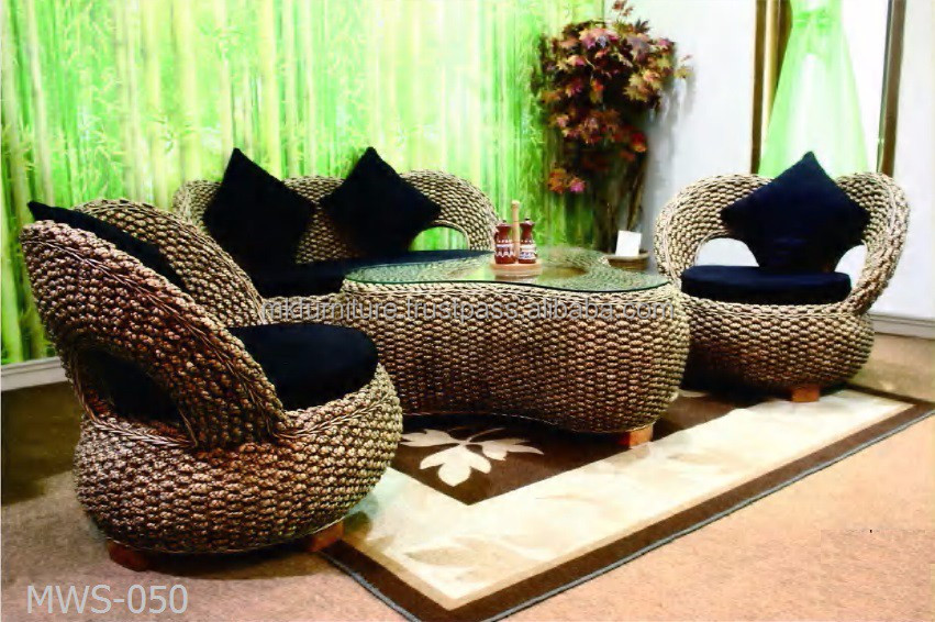 wicker rattan sofa set living room furniture hand woven