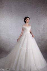 Elegant Fashionable Wedding dress Puffy Lux Soft Tulle Long Tail Off Shoulder Cap Sleeve Beaded Cord Lace
