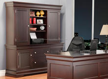 Cherry Color Computer Station desk with Hutch