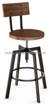 Antique Wood and Metal Industrial Bar Stool, Vintage Industrial Bar Furniture, Retro French Style