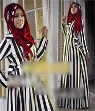 Double Row Button Stripes Design Jubah Dress with Ribbon (Including Shawl)