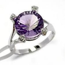 Amethyst Jewellery - Brilliant Cut Round Shaped 16 mm Amethyst stone Bezel set in 92.5 Silver Rings at wholesale