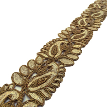 Bronze Ribbon Decorative Craft Supplies Embroidered 5.3 Cm Wide Lace FT624A