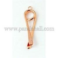 Brass Pinch Bails, Ice Pick, Nickel Free, Hot Pepper, Rose Gold, 34x9x5mm, Hole: 2mm KK-A062-RG-NF