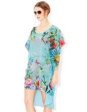 2015 Stylish Assymetrical Beach Kaftan Top For Stylish Ladies And Girls / Printed Beach Kaftan Top / Free Size / Poly Georgette