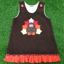 Cute Turkey applique A-line dress for Thanksgiving - BB348
