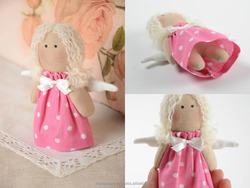Small handmade soft toy collectible rag doll