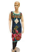 Floral Printed and Embroidered with Pearl Work Women's Long Kurti with Broad Round Neck
