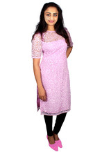 Baby Pink Kurti With Brasso And Crape Lining