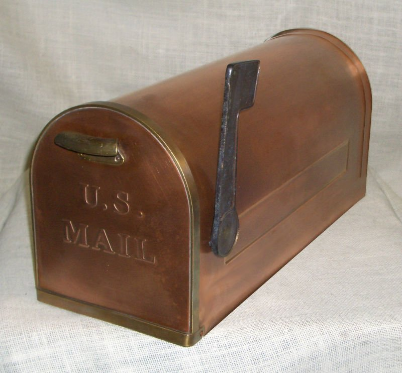 Mailbox With Two Brass Line And Flag