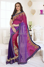 PINK AND PURPLE GEORGETTE SAREE
