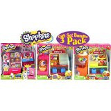 Shopkins So Cool Fridge, Spin Mix Bakery Stand and Easy Squeezy Fruit & Vegetable Stand Playsets Gift Set Bundle...